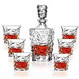 LITINGT Set di Bicchieri da Whisky, Set di Decanter con 1 Bottiglia e 6 Bicchieri, Vetro di Cristallo Senza Piombo da 320 ml, Decanter da 750 ml, Regali di Natale da Uomo 7 Pezzi
