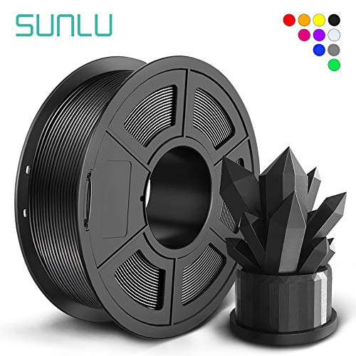 SUNLU PLA+ Filament 1.75mm for 3D Printer & 3D Pens, 1KG (2.2LBS) PLA+ 3D Printer Filament Tolerance Accuracy +/- 0.02 mm, Black
