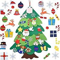 フェルトのクリスマスツリー、35インチDIYフェルトのクリスマスツリーセット30ピースの取り外し可能な装飾品、幼児用、壁掛けクリスマスツリーの装飾