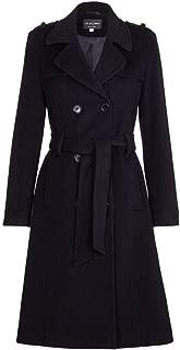 De La Crème - Womens Wool & Cashmere Belted Long Military Trench Coat