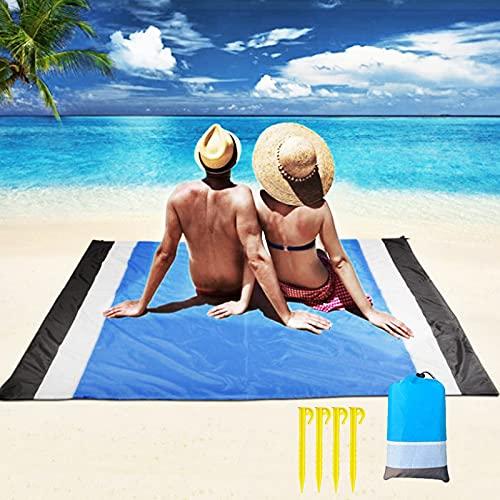 otutun Alfombra de Playa Esterilla Playa , Alfombras de Playa Extra Grande 210x200CM Manta de Picnic Impermeable Anti-Arena con Bolsa y 4 Estaca Fijo para la Playa para Playa,Camping,Picnic,Piscina