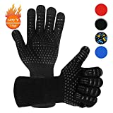 Warome BBQ Gloves 800°C Heat Resistant Grill Gloves Fireproof Barbecue Grilling Potholders Silicone