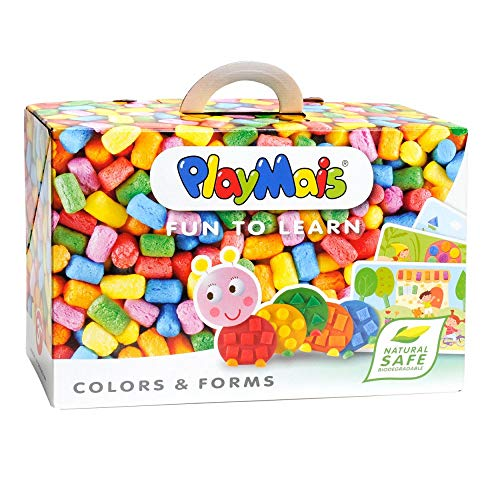 PlayMais Fun to Learn Colors & Forms Educational Toy for Kids from 3 Years | Craft kit with 500 Coloured, 14 templates & Instructions for Crafting | stimulates Creativity & Motor Skills | Natural Toy