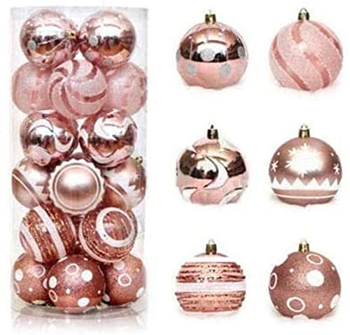JYHZ Decoraciones navideñas, 24 Piezas de Decoraciones de Bolas de Navidad, Conjunto de Bolas Colgando del árbol de Navidad, Usado for la decoración de la Fiesta de Vacaciones