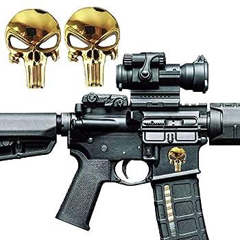 Pack of 2 Tactical 3D Skull Magwell Metal Decal Sticker for AR-15 M4 M16 MP5 AK47 Lower Receivers 5.56 NATO .22LR Magazine Skin Badges Emblem Decor Sticker - Skull Golden