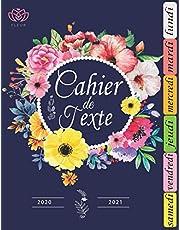 Cahier de Texte -Thème Fleur-: Thème Fleur pour les filles 2020 2021 | pour écrire les devoirs à faire / Organiser suivant les jours de la semaine | pour Toutes les matières