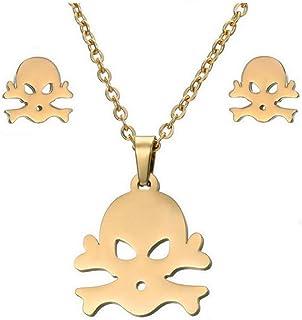 Collana con orecchini in acciaio inossidabile ECG Set Ornament Necklace, 5