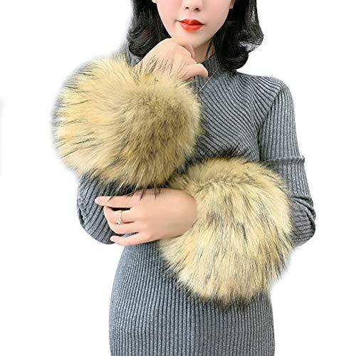 Vannawong - Calentador de mangas para mujer, pelo sintético, para invierno, con manguitos suaves y elásticos, accesorio para disfraz Oro claro. Talla única