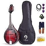 Vangoa Mandolina A Style Instrumento de Mandolinas Acústicas Eléctricas de Caoba para Principiantes, Sunburst rojo