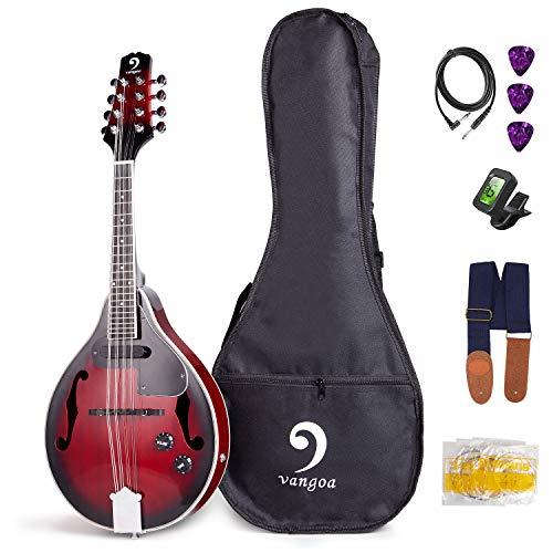 Vangoa Mandolino Acustico Elettrico 8 Corde in Mogano con Sacchetto, Plettri, Corde extra, Accordatore e Cinghia, Rosso