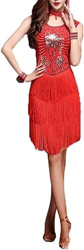 Robe de danse latine Les dames pompon Femmes paillettes paillettes embellies frange flapper robe de danse latine sans hommeches gland concours salle de bal vêteHommests de danse danse party perforhommece costume