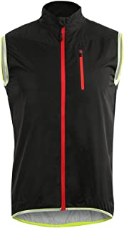 ARSUXEO Men's Cycling Vest Running Vest Sleeves Windproof Reflective 17V2