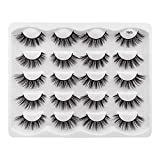 Hannahool 10 Pairs 3D Natural False Eyelashes Reusable Fluffy Cross Faux Mink Long Stripe Lashes Makeup Volume Eye Lashes Exensions (Y03)