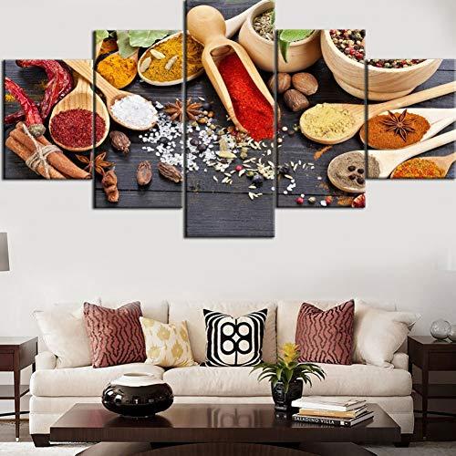 MMLZLZ 5 lienzos Arte de Pared HD Impresiones Decorativas para el hogar 5 Piezas Especias Lienzo Grano…