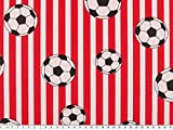 ab 1m: Fußballstoff, Fußball und Streifen, rot-weiß, 140cm breit