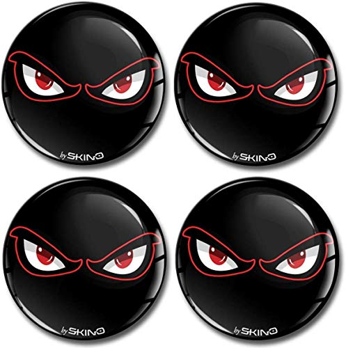 SkinoEu® 4 x 60mm Aufkleber 3D Gel Silikon Autoaufkleber Stickers No Fear Augen Eye Felgenaufkleber Für Radkappen Nabenkappen Radnabendeckel Rad-Aufkleber Nabendeckel Auto Tuning A 4060