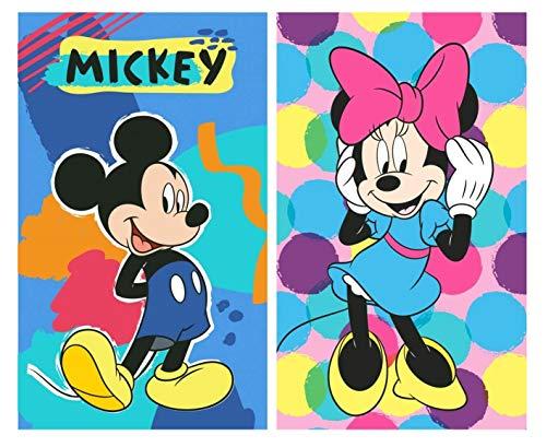Pack de 2 – gran idea de regalo para niños – Toalla de cara / toalla de invitados – 40 x 60 cm – 100% algodón – Juego de 2 unidades: 1 x Minnie Mouse y 1 x Mickey Mouse
