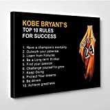 Canvas Bubble Kobe Bryant Mamba Mentality Motivation Quotes Canvas Wall Art Basketball Canvas Frame for Home Decor Ready to Hang 12'x8'