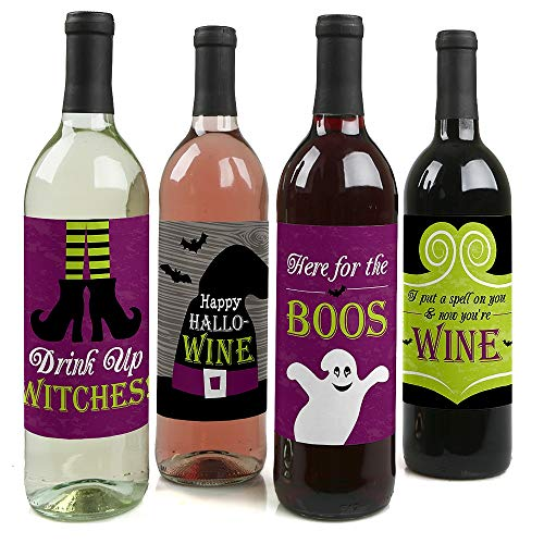Big Dot of Happiness Happy Halloween - Witch Party Decorations for Women and Men - Wine Bottle Label Stickers - Set of 4