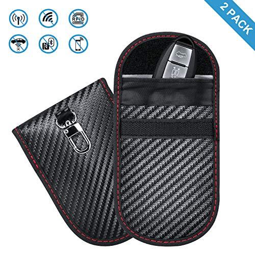 AiBast 2 Pack Keyless Go Protección para llave de coche Mini RFID, funda para llaves, blindaje de señal, impermeable, desmagnetización para evitar que no tenga batería