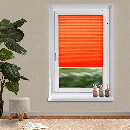 OUBO Plissee Klemmfix Fensterrollo verspannt Jalousie ohne Bohren Orangerot 40 x 200 cm