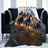 Native American Indian Blankets American Indian Fleece Blanket Southwest Throw Blanket Super Soft Luxury Plush Native American Horse Blankets for Couch Bed Travelling Camping Gift 60'X50'