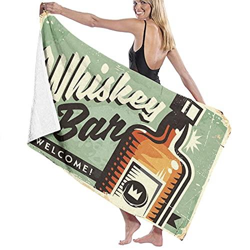 Strandtücher Übergroße Mikrofaser-Badetücher,Old Welcome Whiskey Bar Werbeartikel Retro Fo, Weiches leichtes Handtuch für Camping Travel Beach Swim Yoga Gym 52