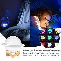 サターンランプ、3Dプリントタッチコントロール木製スタンドとUSB充電式装飾ライトアップムーンライト付きキッズバースデーギフトナイトライトキッズギフト