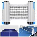 Tencoz Red de Tenis de Mesa, Red Ajustable de Ping Pong Repuesto Portátil Retráctil Table Tennis Net - Ping Pong Net para Entrenamiento Abrazaderas, Longitud Ajustable 200 (MAX) x 14.5cm (Azul)