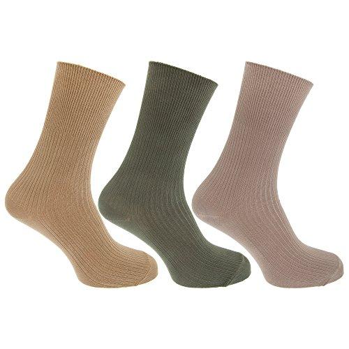 Textiles Universels Chaussettes non élastiquées (3 paires) - Homme (39-45 FR) (Beige/Vert)
