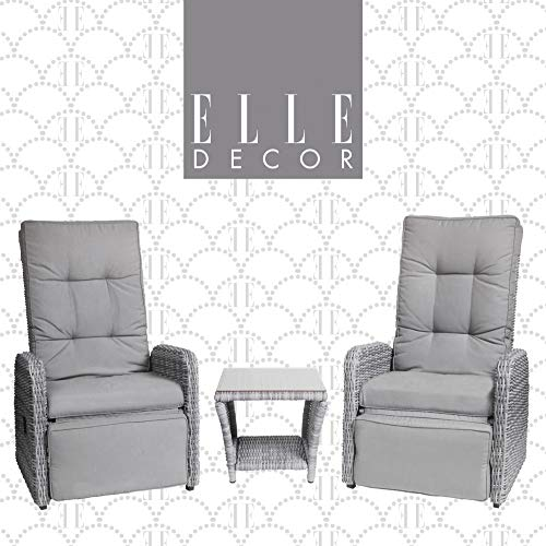 Elle Decor Vallauris Patio Outdoor Furniture Collection Premium All Weather Wicker, 3 Piece Reclining Set, Gray