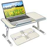 Height and Angle Adjustable Laptop Bed Table, Portable Lap Desk Foldable Sofa Breakfast