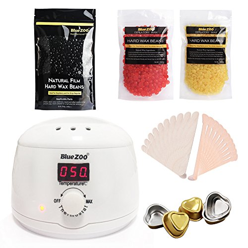 Bluezoo kit dépilatoire Cire épilation épilation à la cire kit, électrique, chauffe Cire 500 ml, grains de cire dure de 3 parfums (Noir 250 g, miel, 100 g, Fraise 100 g), 20 Spatules à base de cire, Cire 5 Mini Bols à la Fonte