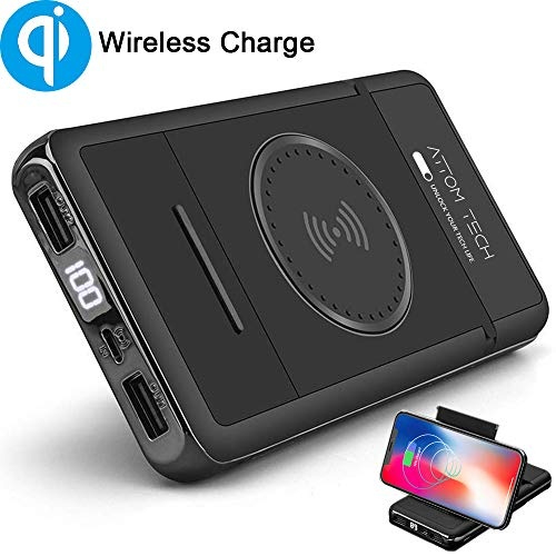 Wireless Charger Power Bank with Phone Stand,Tomorotec 10000mAh Qi Wireless External Battery Pack Bank Portable Charger Compatible with Galaxy S8,S7,S6,Edge,iPhone XS,XR,X,8,8 Plus,Nexus,HTC,Nokia,LG
