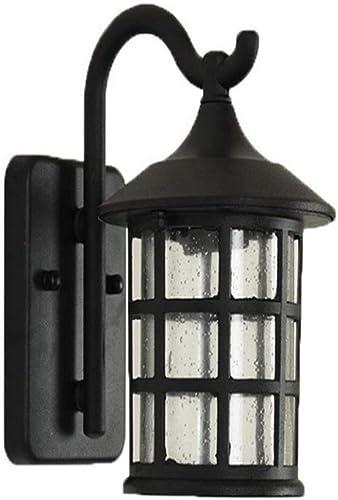 Lumière extérieure imperméable américain pays rétro rétro allée jardin chevet lampe de pluie européenne extérieure pluie, 22x25cm (couleur  noir-22x25cm)