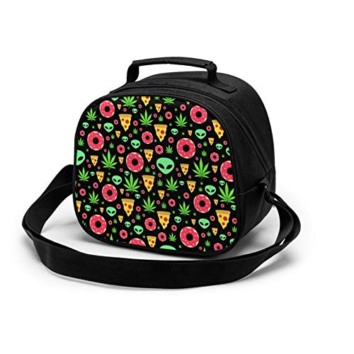 Alien Donut Pot Leaf Weed Pizza Insulated Lunch Bag Mini Cooler Thermal Meal Tote Kit with Handle for Girls,Boys School Travel Picnic Children's Meal Bag