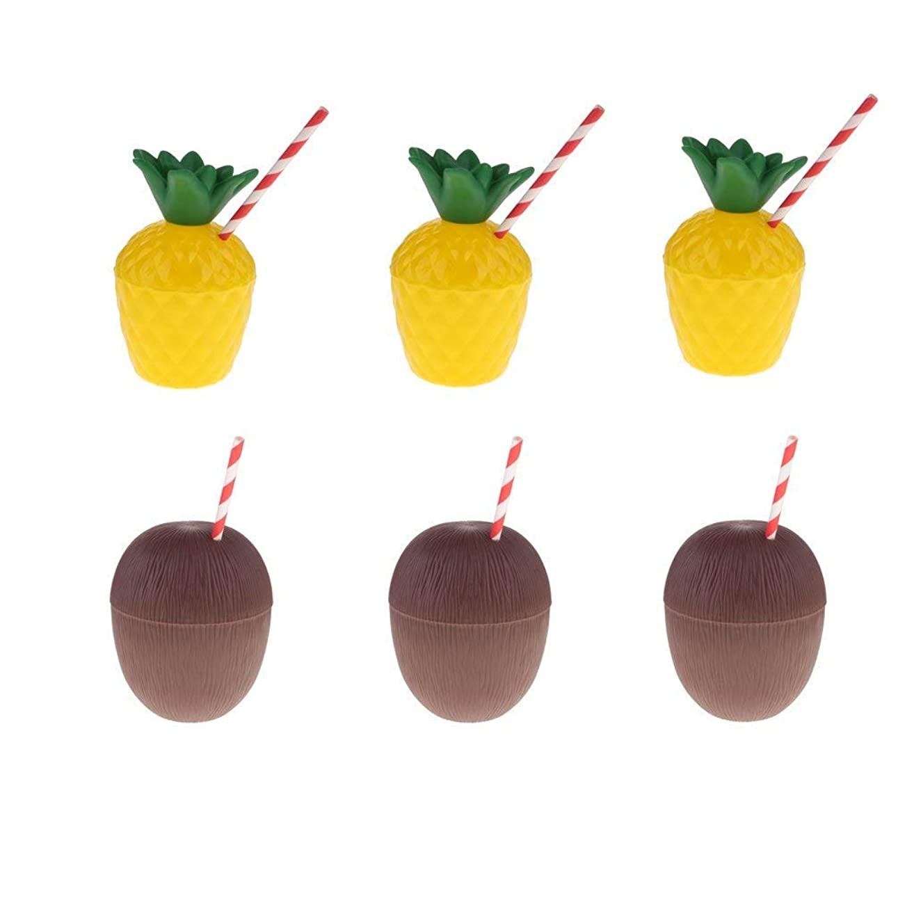 6pcs Pineapple & Coconut Drink Cups with Straw Hawaiian Luau Beach Theme Party Supplies
