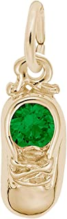 Rembrandt Charms Baby Shoe Charm with Simulated Emerald