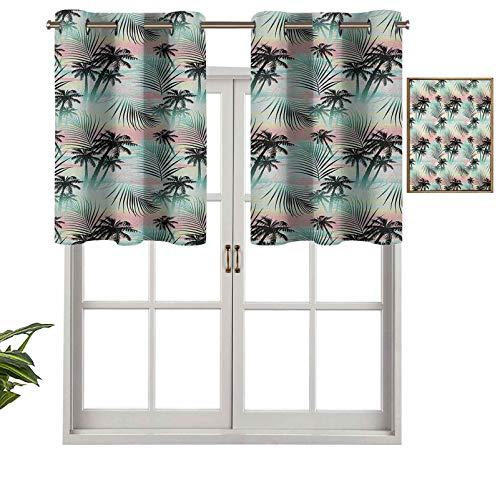 Hiiiman Cortinas cortas, con bloqueo de luz, para verano, palmeras y hojas de helecho exóticas con fondo abstracto colorido, juego de 2, cortinas de ventana de 42 x 24 pulgadas para sala de estar