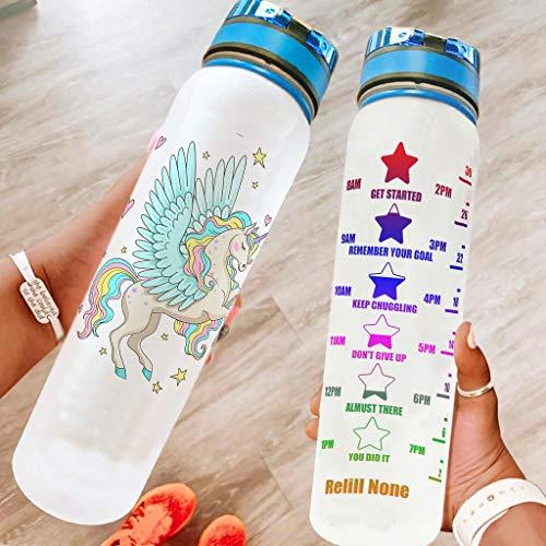 Ftcbrgifk Botella de agua deportiva de unicornio a prueba de fugas, 1000 ml, moderna botella de agua potable para yoga, con marcador de tiempo motivacional, color blanco, 1000 ml