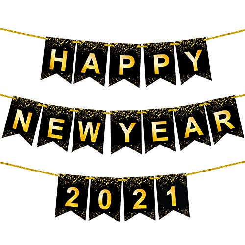 Happy New Year Banner 2021 - Shiny Gold Printed | No DIY Required | Black and Gold 2021 Backdrop Sign for New Years Eve Party Supplies 2021 | Happy New Year Sign for Happy New Years Eve Decorations
