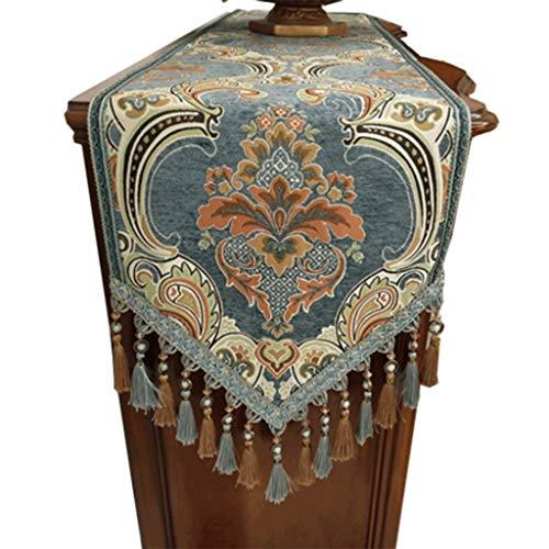 Luxe Tafelloper Chenille met Tassel Decoratieve Eettafel Doek Mat for Bruiloft Receptie Supplies Tafelkleed-4.13 (Size : 35 * 280cm)