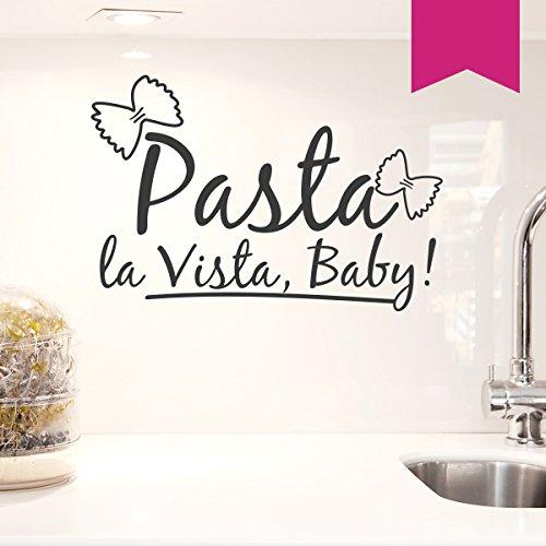 WANDKINGS Wandtattoo - Pasta la Vista, Baby! (mit 2 Schmetterling Nudeln) - 50 x 33 cm - Pink - Wähle aus 5 Größen & 35 Farben