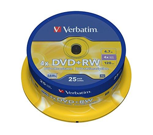 Verbatim 43489 DVD+RW, 4.7 Gb, 4x, Spindle, 25 Pezzi