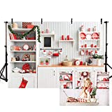 MEHOFOTO White and Red Christmas Kitchen Background Wood for Photo Studio Child Cook Portraint Backdrop Props for Photo Booth Photography 7x5ft