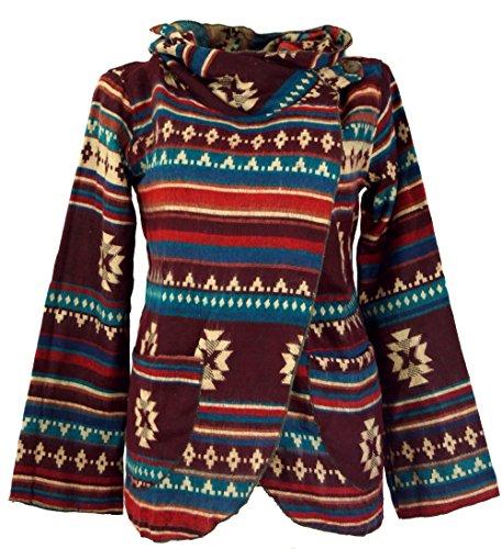 GURU SHOP Chaqueta envolvente Inka para mujer, sintética, estilo bohemio, ropa alternativa, marrón/turquesa, 38