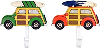 Cast Resin Car with Surfboard with Metal Wall Hooks, Pack of 2, 6 Inch