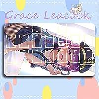 Grace Leacock カードゲームプレイマット 遊戯王 プレイマット hololive ホロライブ 湊 あくあ YouTuber アニメグッズ TCG万能 収納ケース付き アニメ 萌え カード枠あり (60cm * 35cm * 0.4cm)