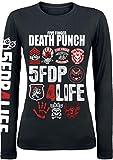 Five Finger Death Punch 4Life Femme T-Shirt Manches Longues Noir M, 100% Coton, Regular/Coupe...