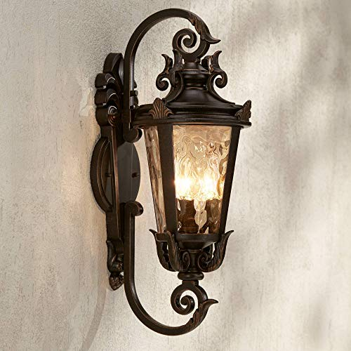 "Casa Marseille Outdoor Wall Light Fixture Bronze Scroll 21 1/2"" Hammered Glass for House Porch Patio - John Timberland"